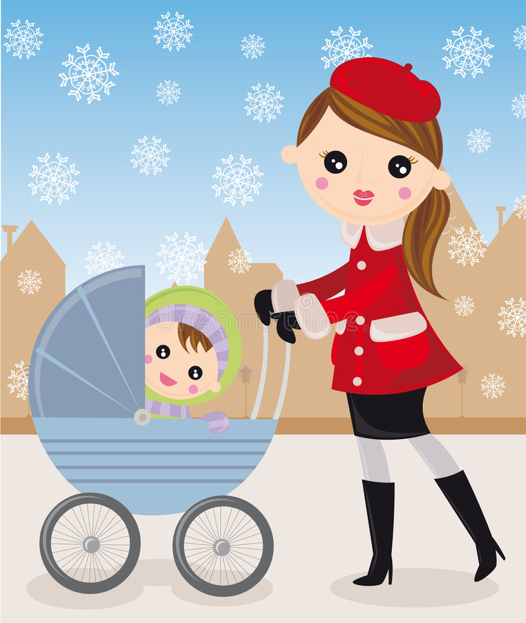 Mother and baby carriage. Woman walking with baby in carriage