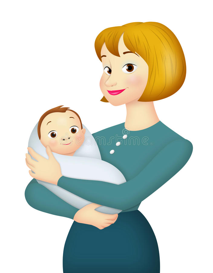 Mother With Baby. Mother carrying baby in her arms vector illustration
