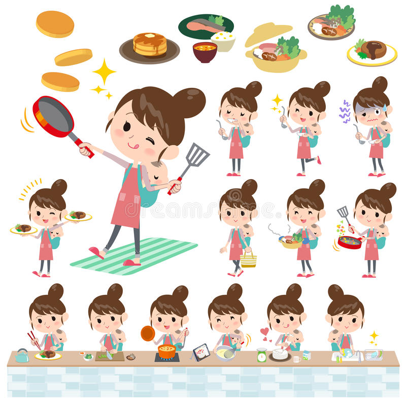 Mother and baby cooking. Set of various poses of Mother and baby cooking vector illustration