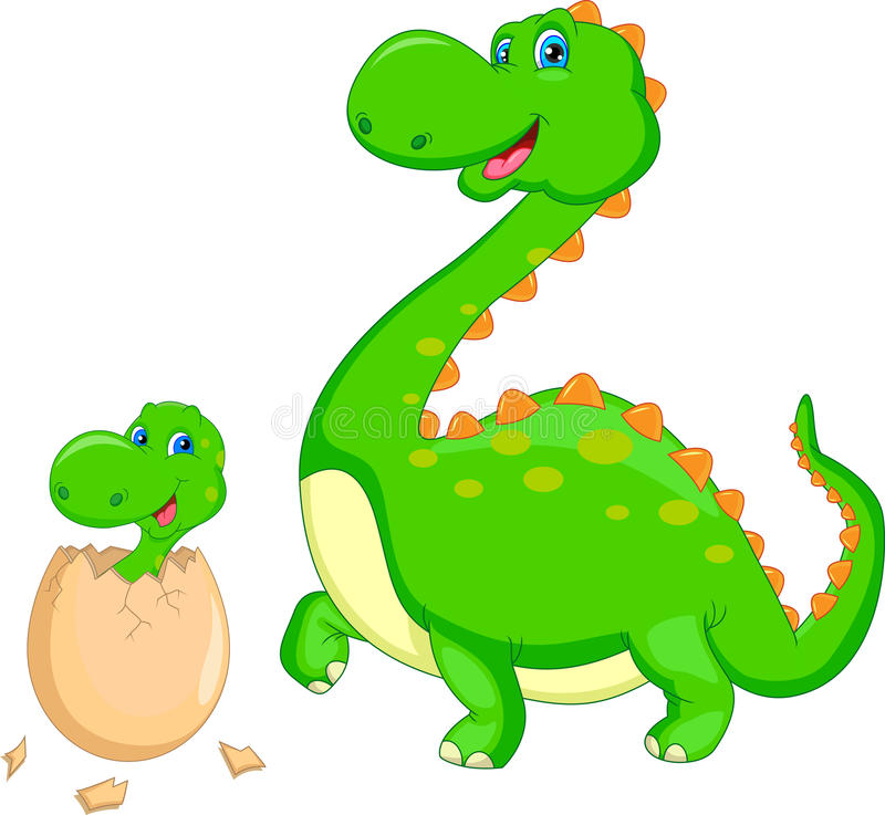 Mother and baby dinosaur hatching. Illustration of Mother and baby dinosaur hatching vector illustration