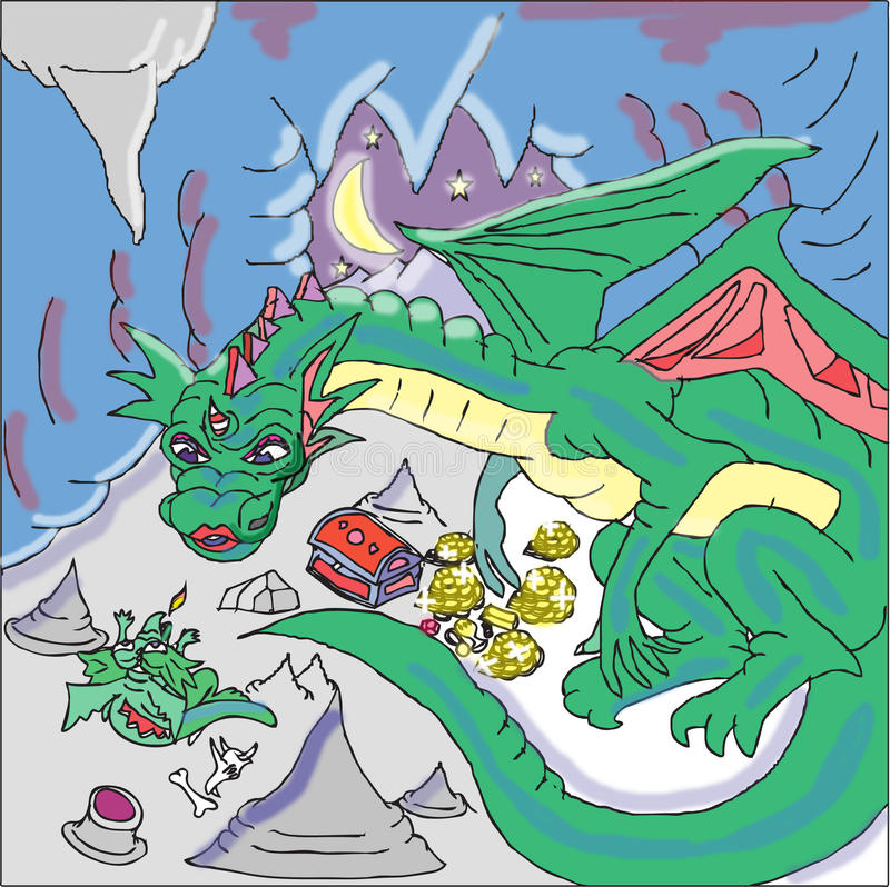 Mother and baby dragon. The little dragon is breathing out his first fire under the tender gaze of his mother's watchful eyes. Scattered all over the floor lies vector illustration