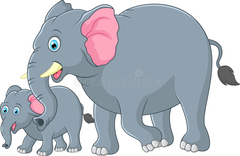 Mother and baby elephant stock illustration