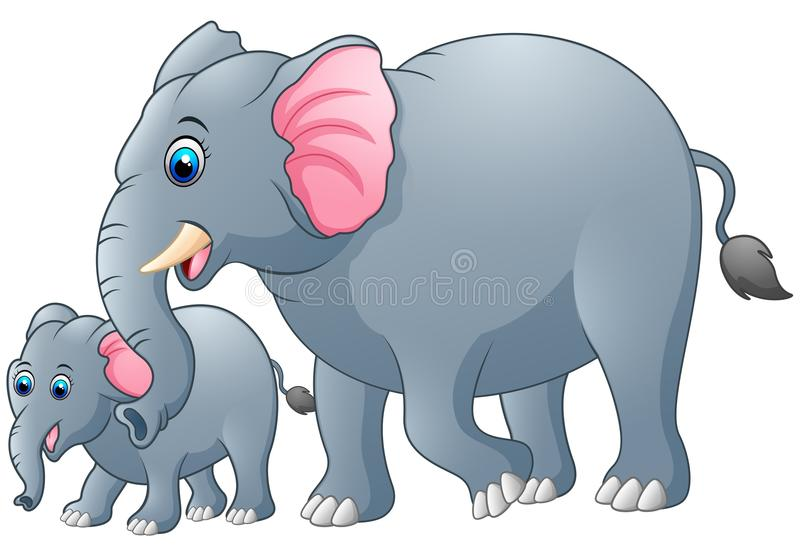 Mother and baby elephant vector illustration