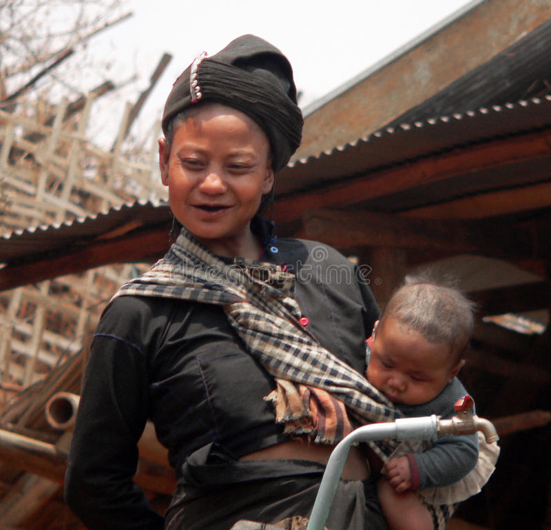 Mother & baby Enn-Tribe Village Myanmar royalty free stock image