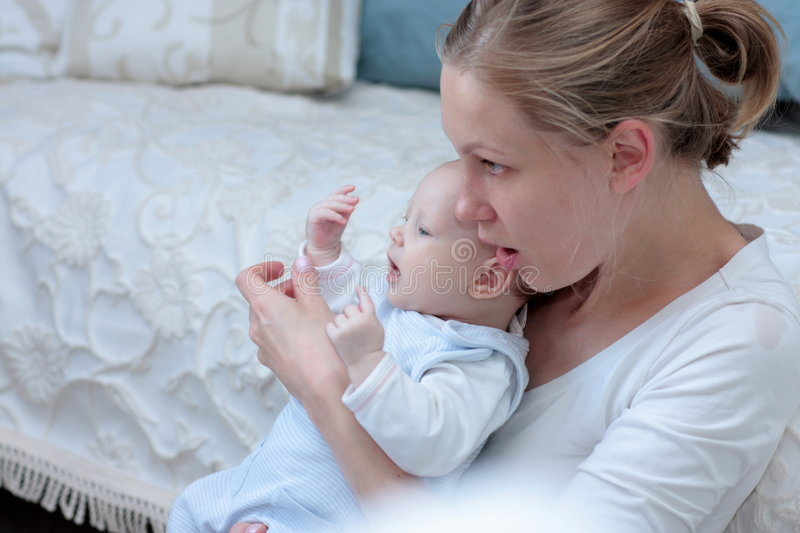 Mother with baby girl stock photo