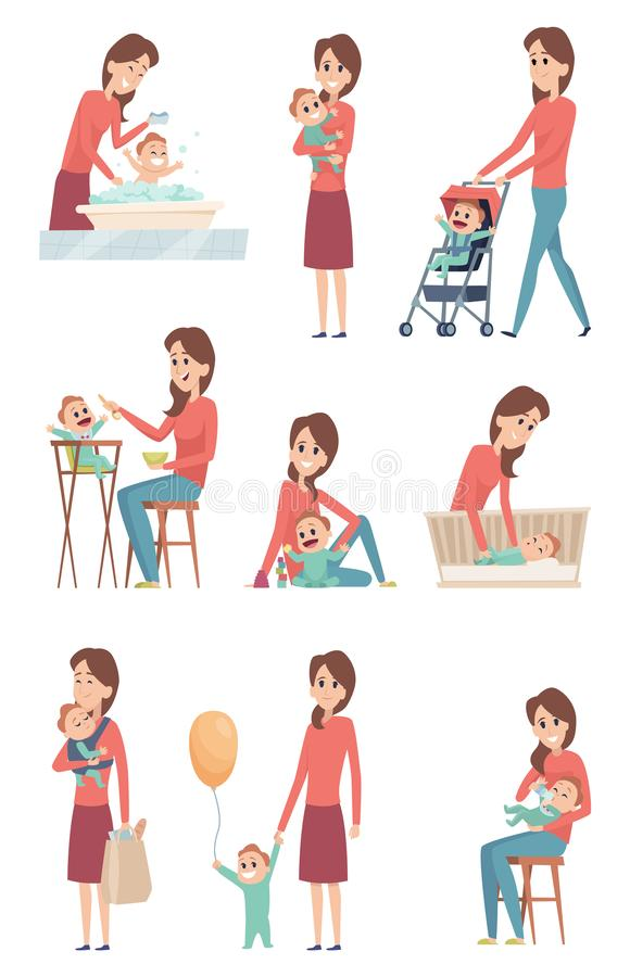Mother and baby. Happy love kids playing with mother little girl and boy son and daughter vector characters stock illustration