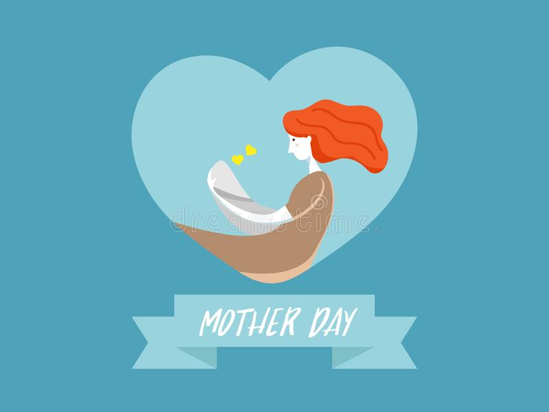 Mother with baby on heart shape. Illustration of mother with baby on heart shape background happy mother day vector background flat design stock illustration