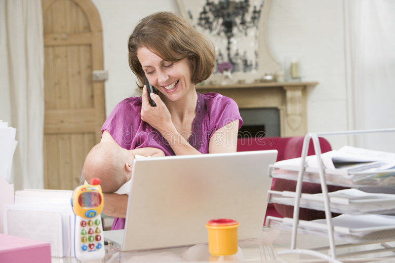 Download Mother And Baby In Home Office With Laptop Stock Image - Image: 5939797