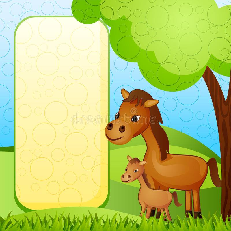 Mother and baby Horse. Vector illustration of mother and baby horse stock illustration