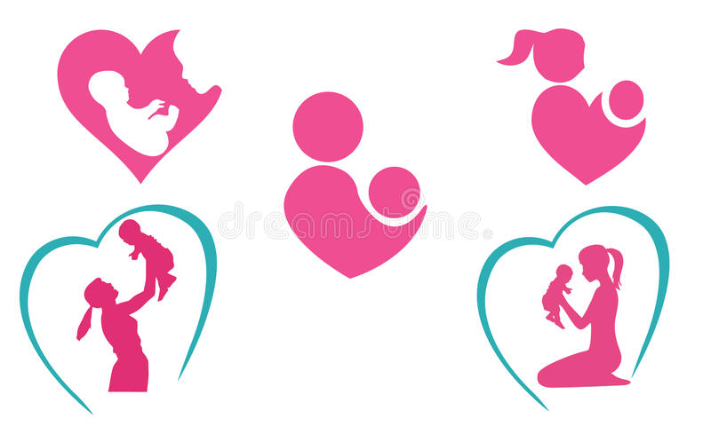 Mother and baby icons royalty free illustration
