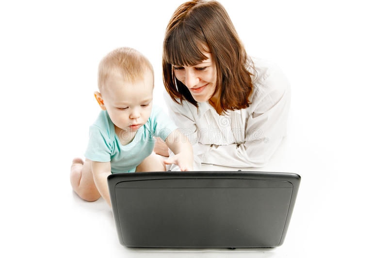 Download Mother And Baby With Laptop Stock Image - Image of busy, girls: 13371451