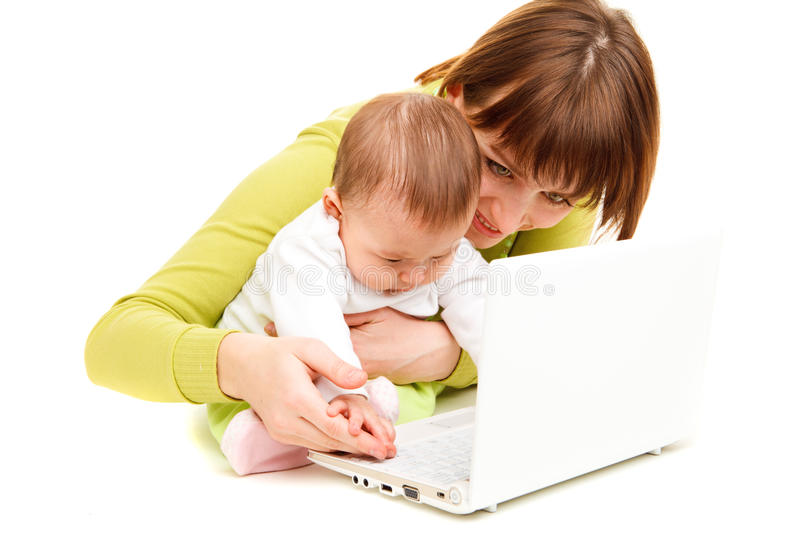 Download Mother and baby at laptop stock image. Image of cute - 13490999