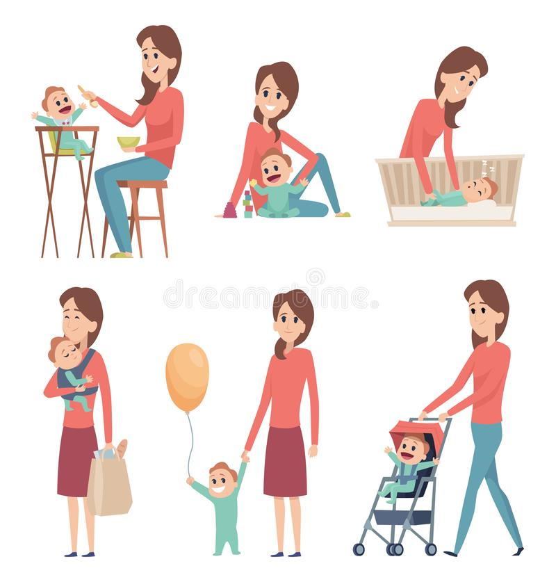 Mother and baby. Love happy family parents playing with newborn kids girls and boys vector cartoon characters. Mother with boy play and walk illustration royalty free illustration
