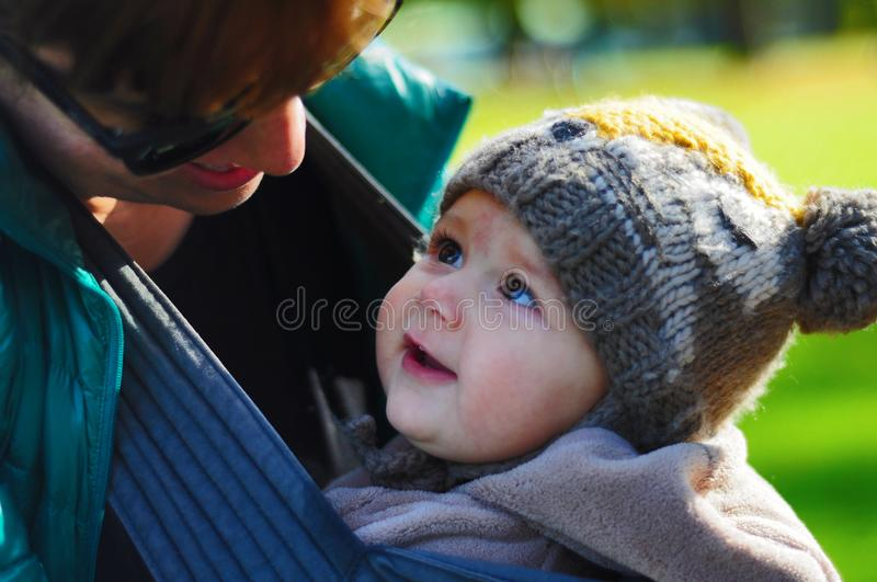 Mother and baby love. Purest love feelings in the eye look of a baby stock photos
