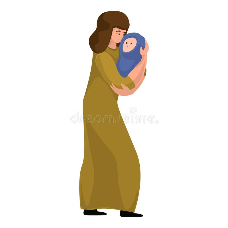 Mother baby migrant icon, cartoon style royalty free illustration