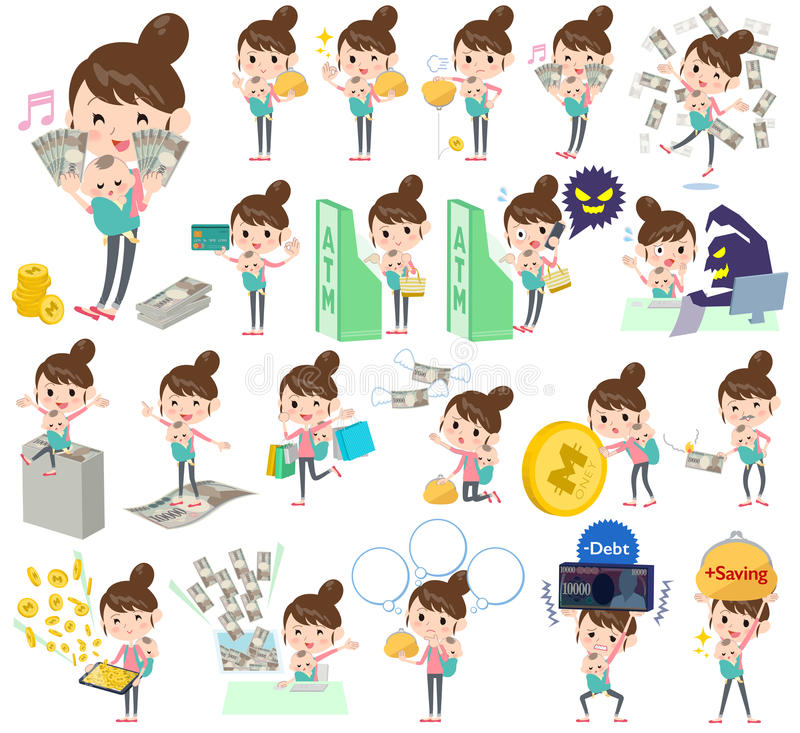 Mother and baby money. Set of various poses of Mother and baby money vector illustration