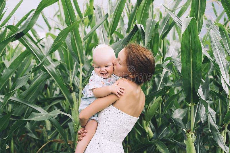 Mother and baby outdoors. Family on nature royalty free stock photo