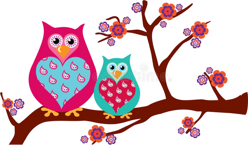 Mother & Baby Owls on a Blossom Branch vector illustration