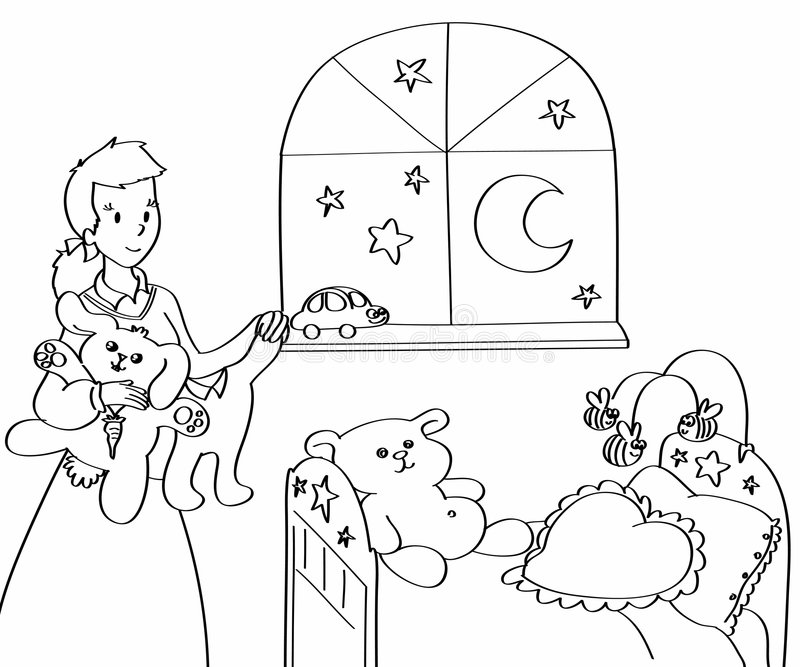 Mother arranging baby-room. Mother in a baby-room with teddies, little dresses and toys. Black and white illustration vector illustration