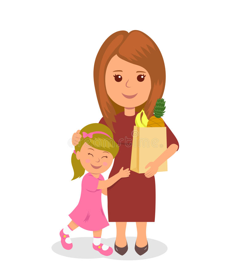 Mother and baby shopping. Concept infographics proper nutrition royalty free illustration