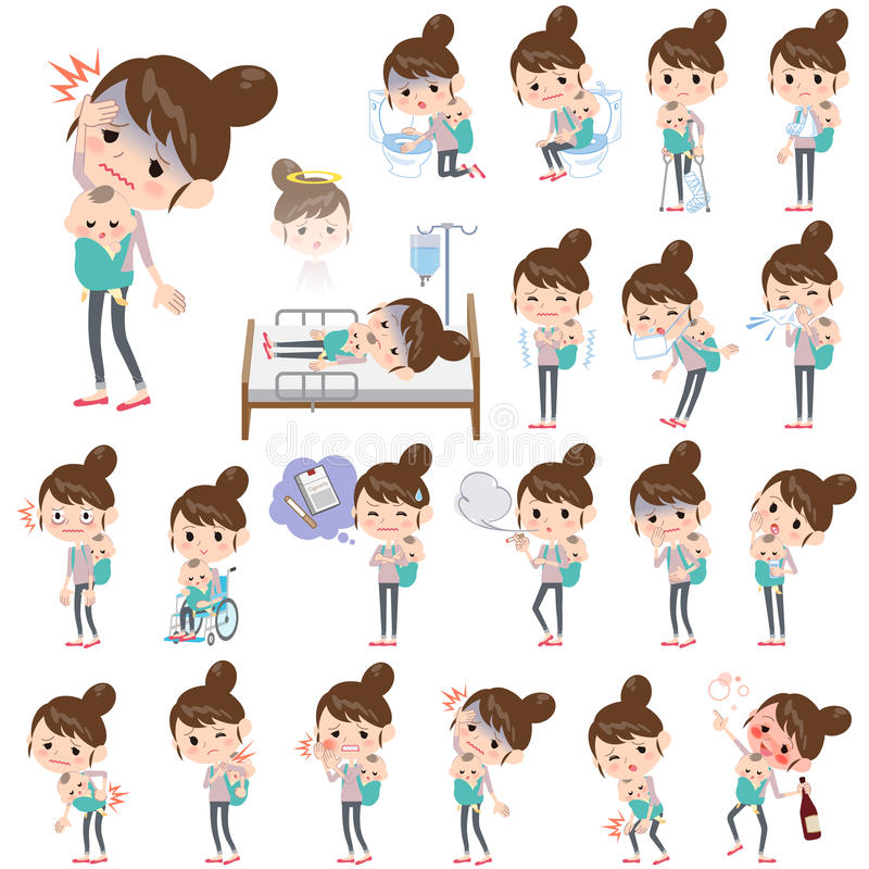 Mother and baby About the sickness. Set of various poses of Mother and baby About the sickness vector illustration
