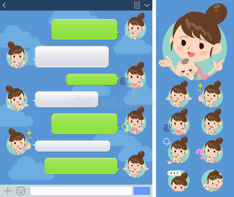 Mother and baby sns window. Set of various poses of Mother and baby sns window vector illustration