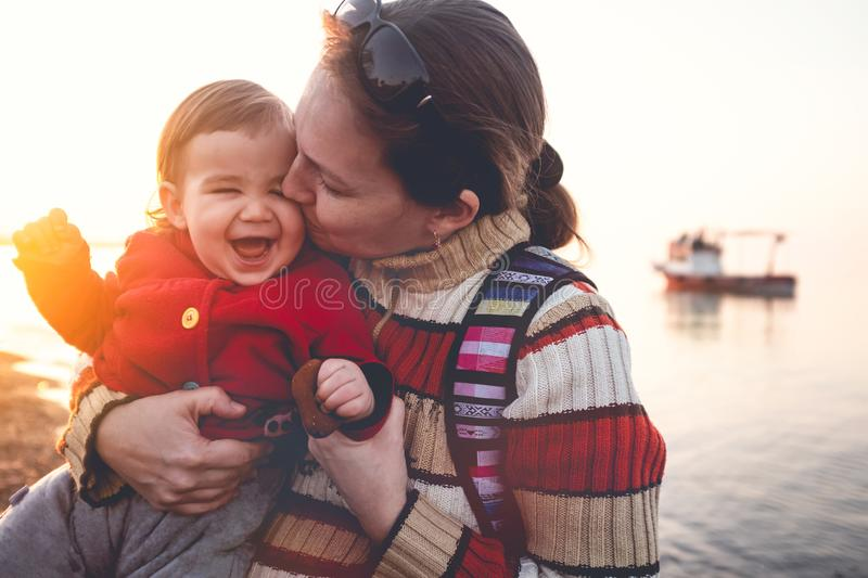 Mother and Baby Son Portrait, Outdoors in Spring Season at Seaside stock photos