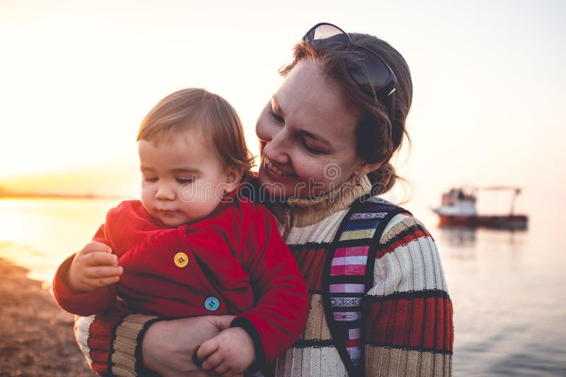 Mother and Baby Son Portrait, Outdoors in Spring Season stock photos