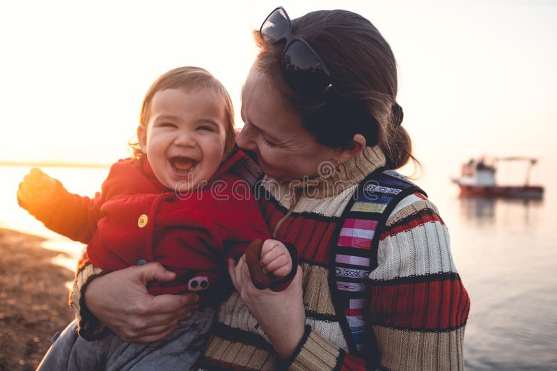 Mother and Baby Son Portrait, Outdoors in Spring Season royalty free stock images