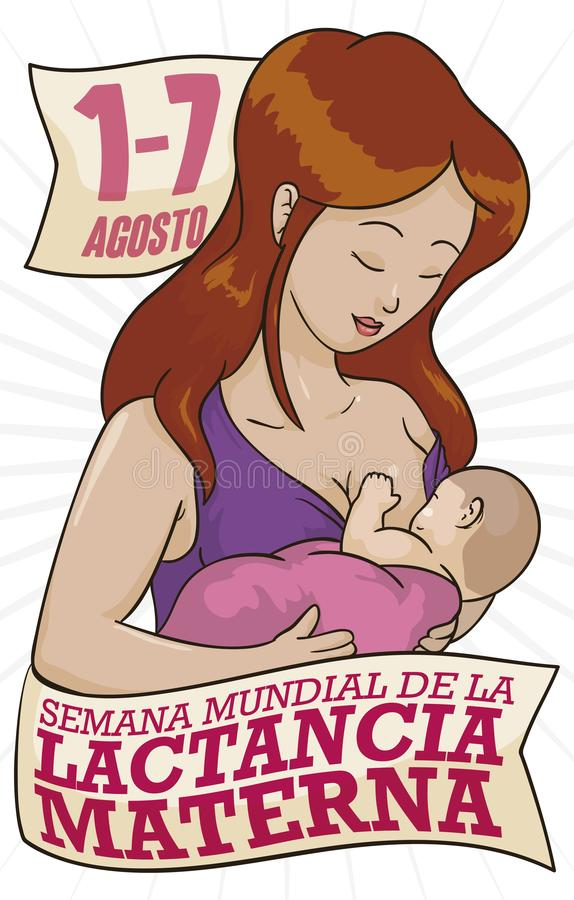 Mother with Baby for Spanish Celebration of World Breastfeeding Week, Vector Illustration. Beautiful mother with her baby, celebrating World Breastfeeding Week stock illustration