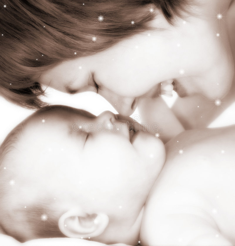 Mother and baby in stars. And sepia tones