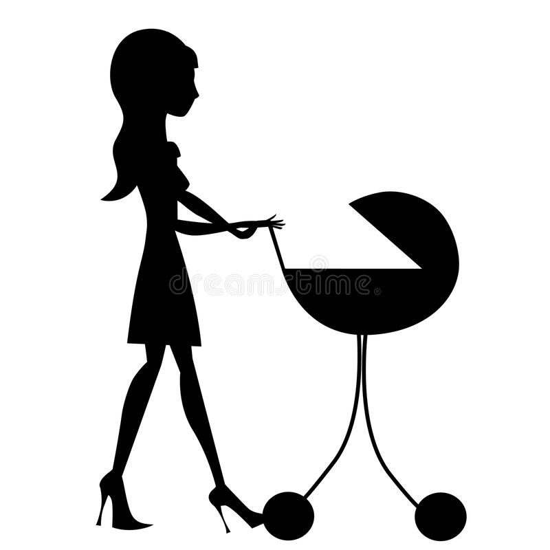 Download Mother with baby stroller stock vector. Image of crib - 18152945