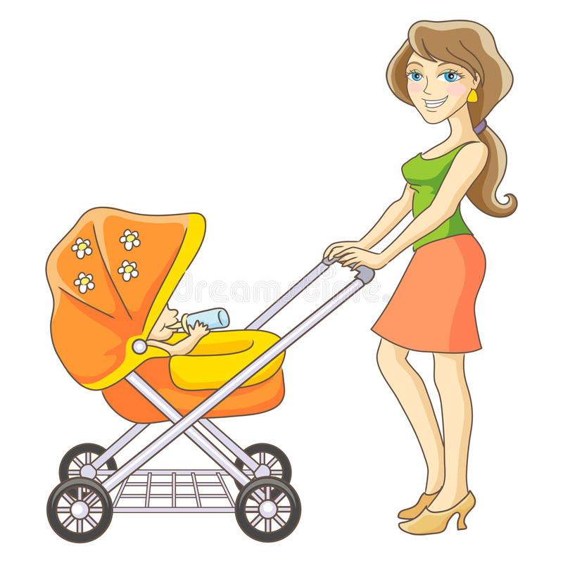 Mother and baby stroller. Young mother and baby stroller. Happy mom and baby. Isolated vector illustration stock illustration