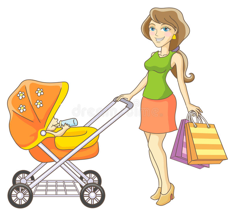 Mother and baby stroller. Young mother and baby stroller. Happy mother and her child went shopping. Vector illustration stock illustration