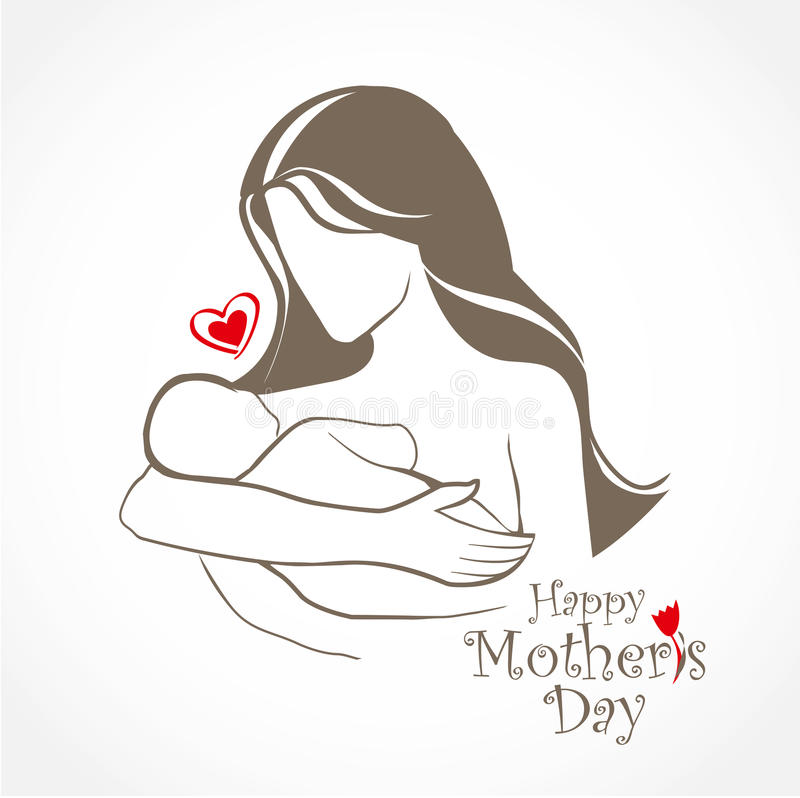 Mother and baby stylized vector symbol stock illustration