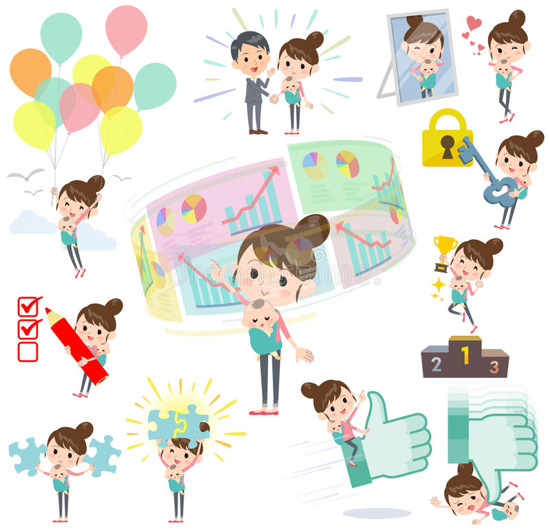 Mother and baby success & positive. Set of various poses of Mother and baby success & positive royalty free illustration