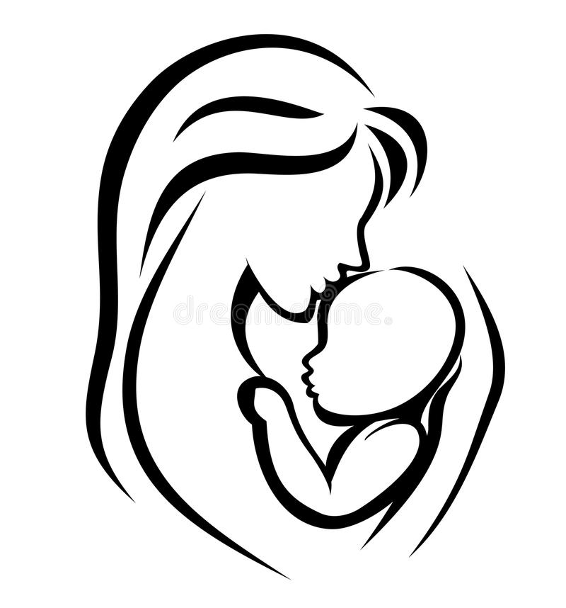 Mother and baby symbol royalty free illustration