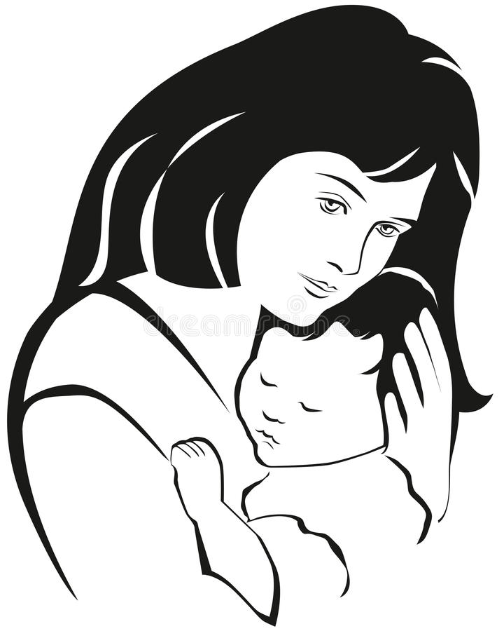Mother and baby symbol, hand drawn silhouette. Happy Mothers Day stock illustration