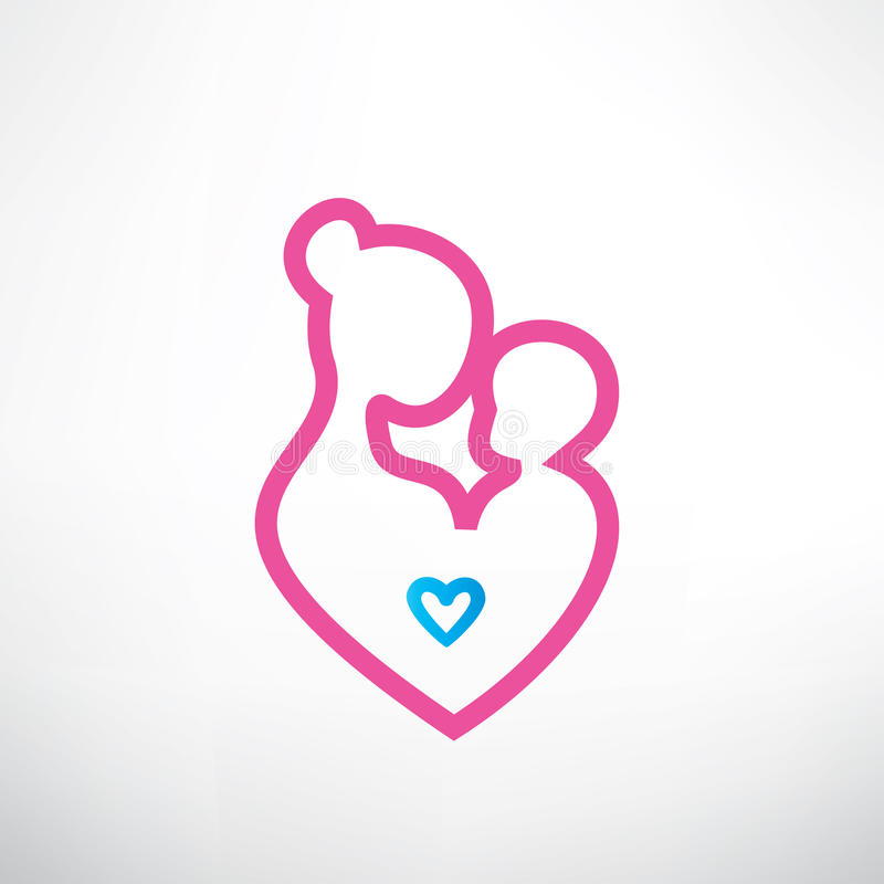 Mother and baby symbol stock illustration
