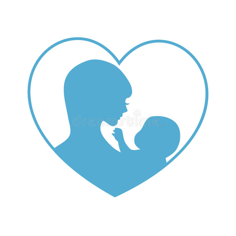 Mother and baby symbol. Illustration of woman holding baby. Concept of maternity, love and care royalty free illustration