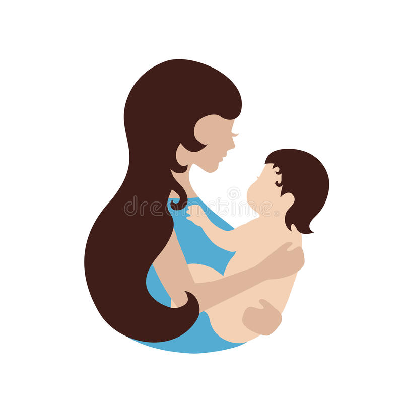 Mother and baby symbol. Illustration of woman holding baby. Concept of maternity, love and care vector illustration