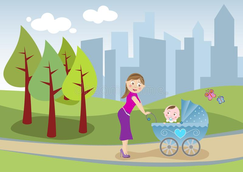 Download Mother And Baby Take A Stroll [2] Stock Illustration - Illustration of maternity, funny: 21248492