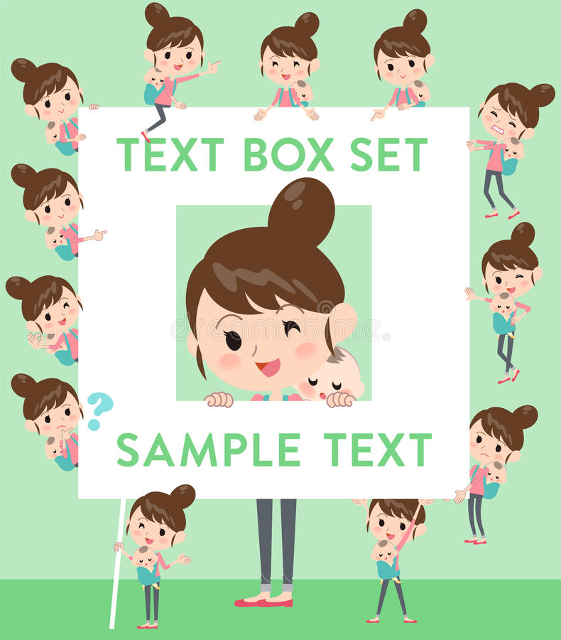 Mother and baby text box. Set of various poses of Mother and baby text box stock illustration