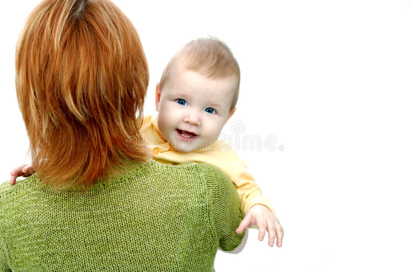 Mother and baby on white stock images
