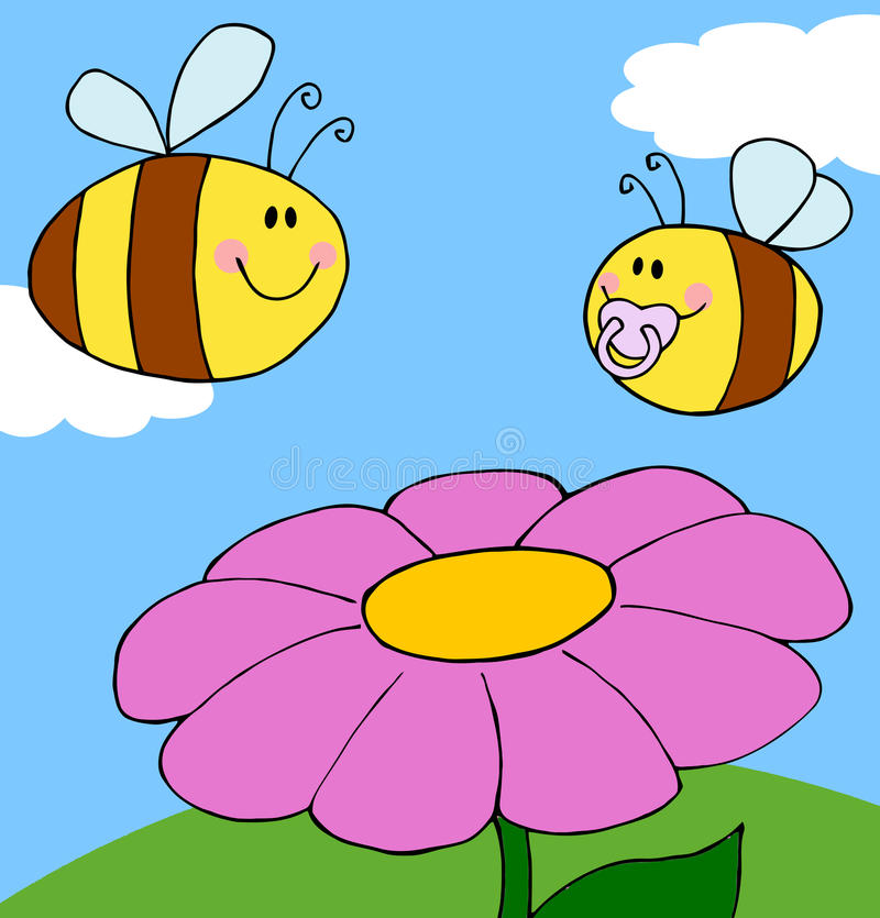 Mother Bee Flying With Baby Bee Over Flower Royalty Free Stock Image