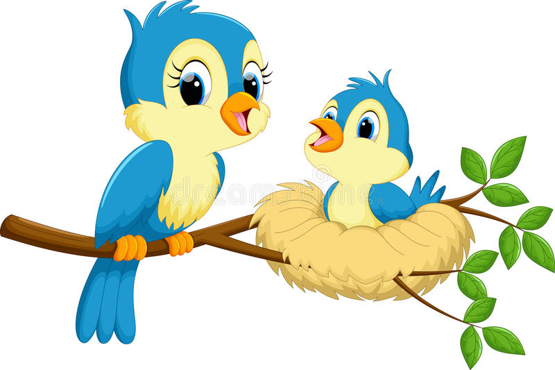 Mother bird with babies. Vector illustration of mother bird with babies isolated on white background royalty free illustration