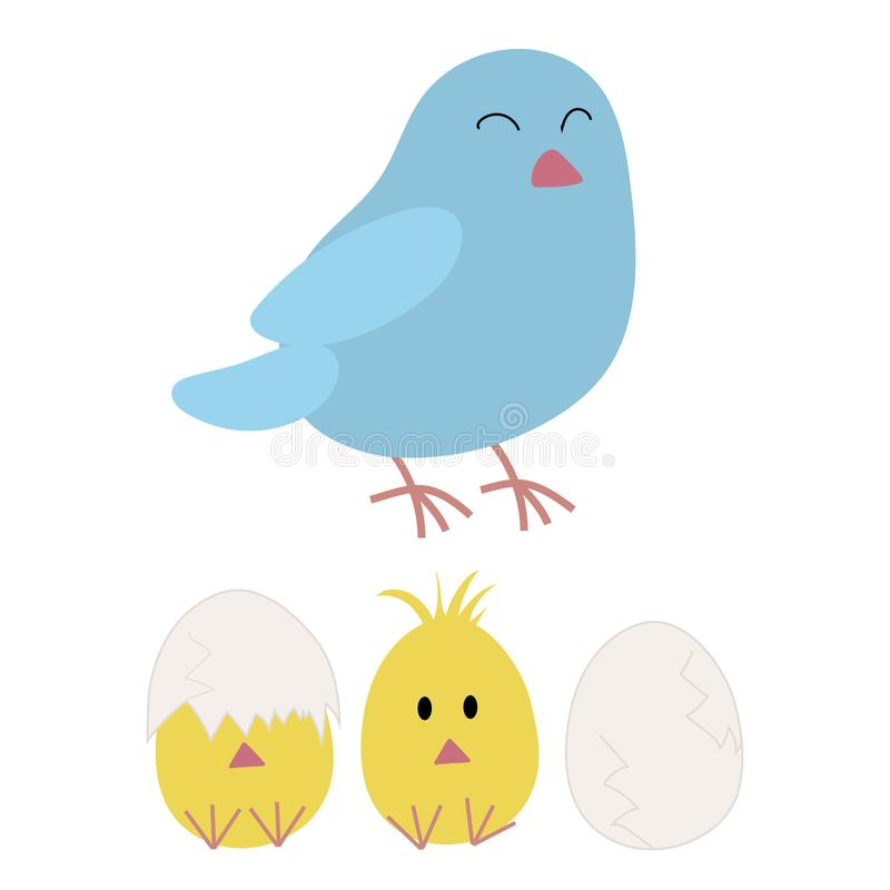 Mother Bird and Chicken Hatching. Easter bird mother and her chicks hatching from the eggs. Bluebird and chicken illustration in cute and childish style royalty free illustration