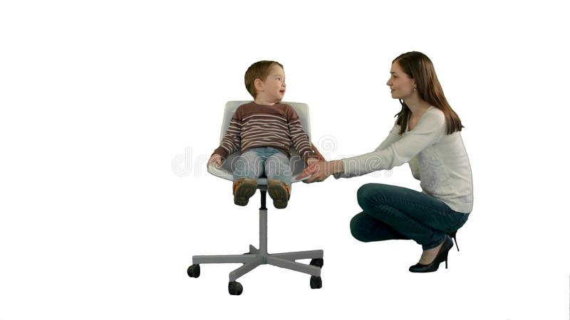 Mother And Boy Play Game On White Background Isolated Stock Photo
