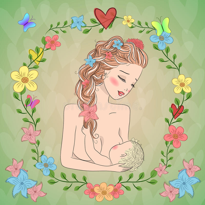 The mother is breastfeeding. The mother is breastfeeding on a green background with flowers. Card for Mother's Day royalty free illustration