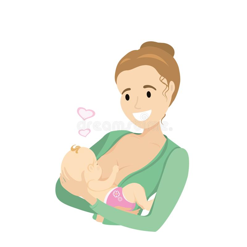 Mother breastfeeding her cute baby. Isolated on white background,cartoon vector illustration royalty free illustration